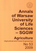 Annals of Warsaw University of Life Sciences - SGGW. Agriculture 53